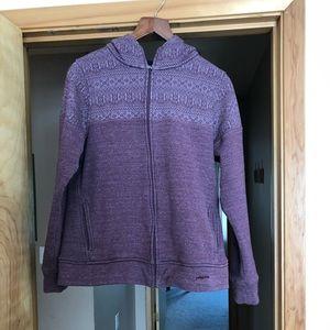 Woven patterned fleece jacket